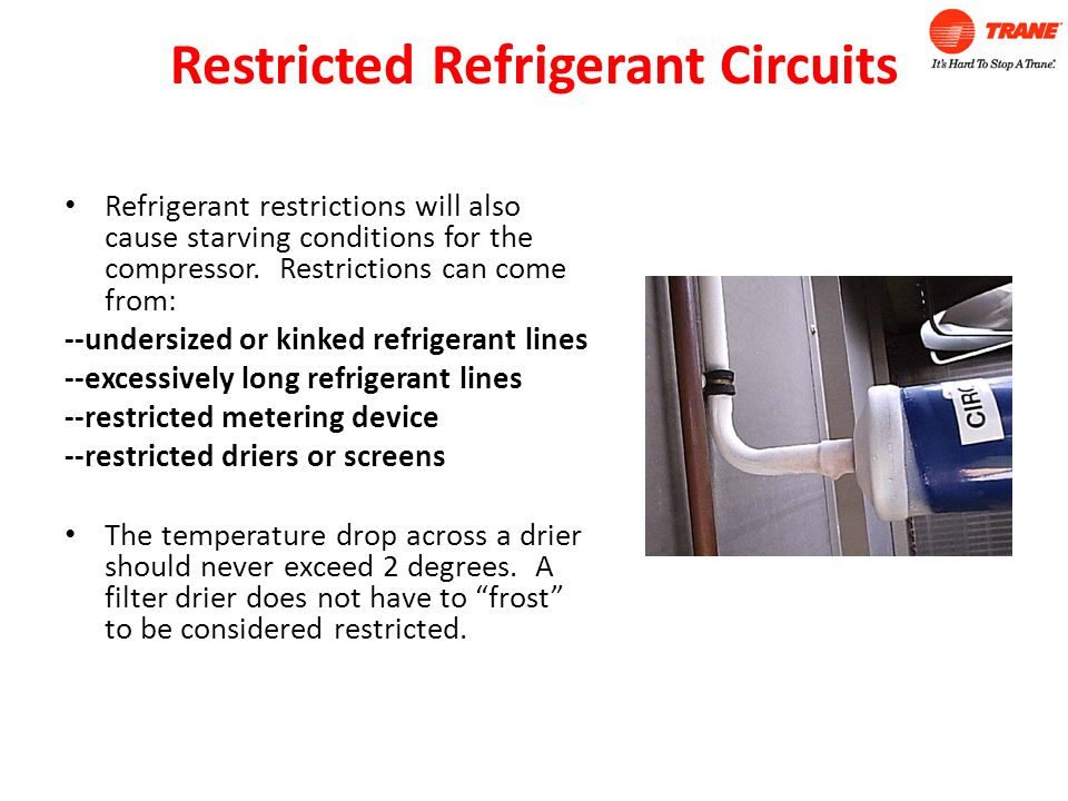 Restricted Refrigerant Circuits Refrigerant restrictions will also cause starving conditions for the compressor.