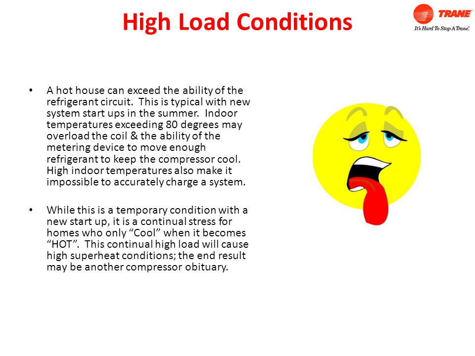 High Load Conditions A hot house can exceed the ability of the refrigerant circuit.