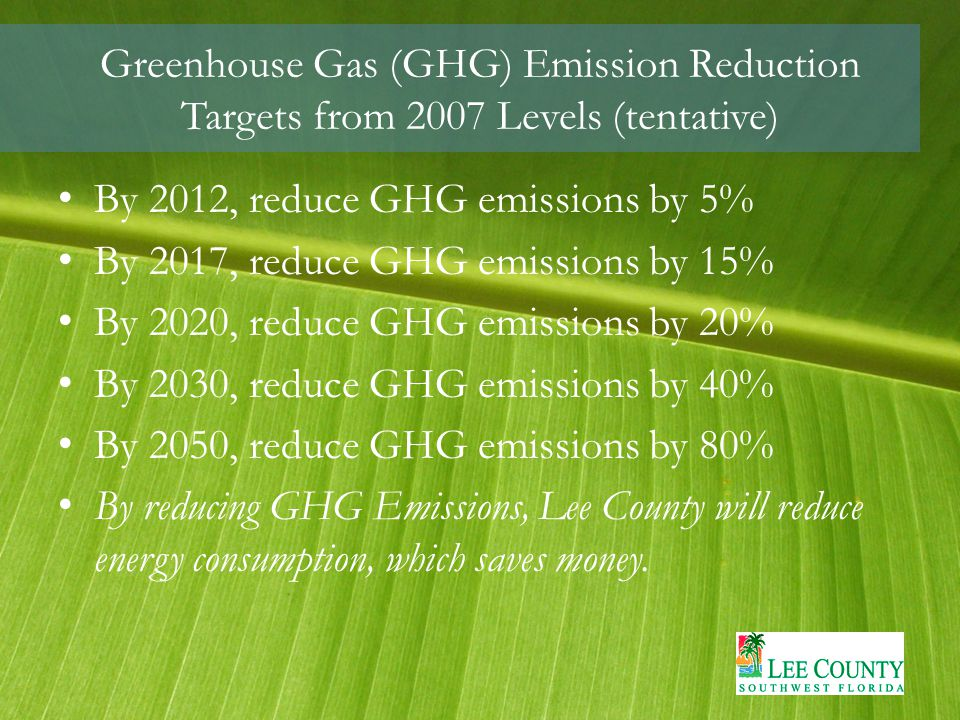 Greenhouse Gas (GHG) Emission Reduction Targets from 2007 Levels (tentative) By 2012, reduce GHG emissions by 5% By 2017, reduce GHG emissions by 15% By 2020, reduce GHG emissions by 20% By 2030, reduce GHG emissions by 40% By 2050, reduce GHG emissions by 80% By reducing GHG Emissions, Lee County will reduce energy consumption, which saves money.
