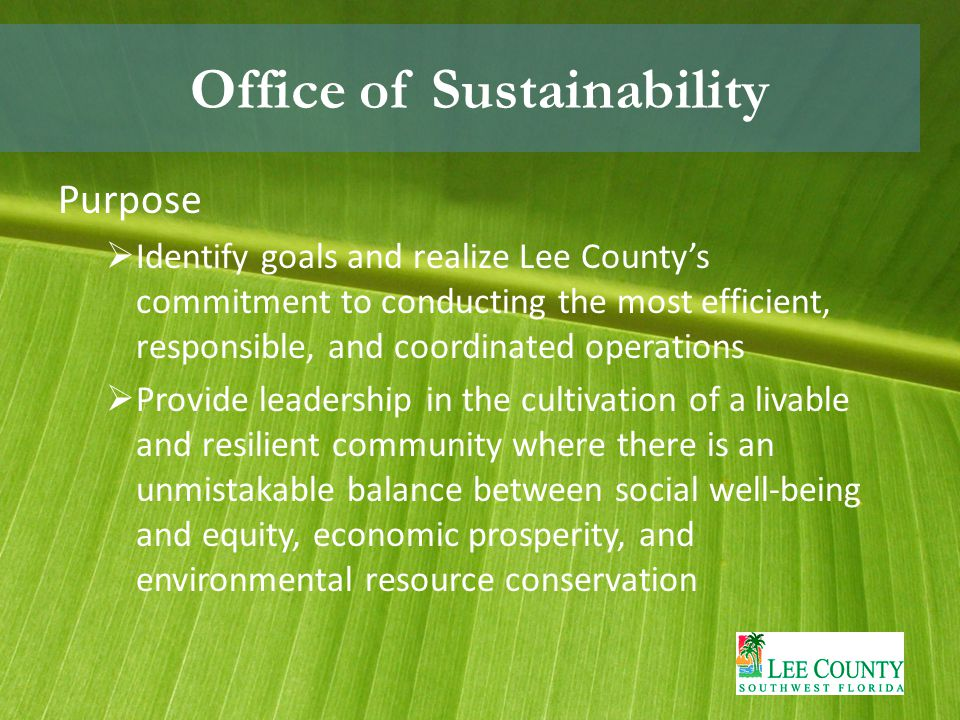 Office of Sustainability Purpose  Identify goals and realize Lee County's commitment to conducting the most efficient, responsible, and coordinated operations  Provide leadership in the cultivation of a livable and resilient community where there is an unmistakable balance between social well-being and equity, economic prosperity, and environmental resource conservation