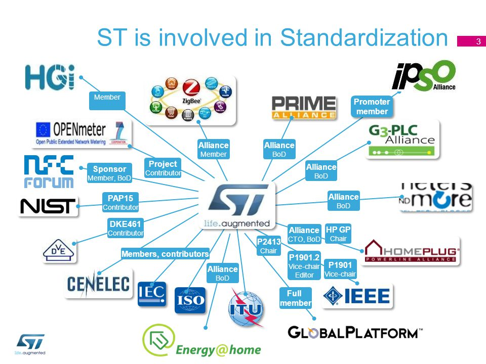 Promoter member Promoter member ST is involved in Standardization 3 Alliance Member Alliance BoD Alliance BoD Alliance BoD Alliance CTO, BoD HP GP Cha