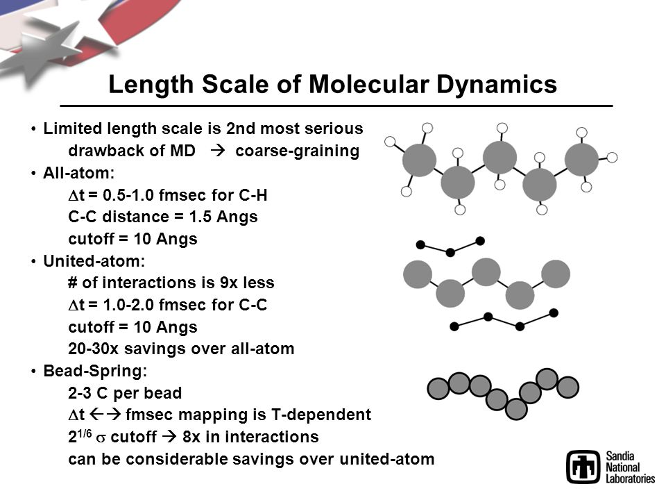 Length Scale of Molecular Dynamics Limited length scale is 2nd most serious drawback of MD  coarse-graining All-atom:  t = 0.5-1.0 fmsec for C-H C-C distance = 1.5 Angs cutoff = 10 Angs United-atom: # of interactions is 9x less  t = 1.0-2.0 fmsec for C-C cutoff = 10 Angs 20-30x savings over all-atom Bead-Spring: 2-3 C per bead  t  fmsec mapping is T-dependent 2 1/6  cutoff  8x in interactions can be considerable savings over united-atom