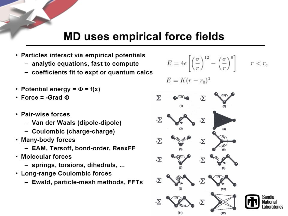 MD uses empirical force fields Particles interact via empirical potentials –analytic equations, fast to compute –coefficients fit to expt or quantum calcs Potential energy =  = f(x) Force = -Grad  Pair-wise forces –Van der Waals (dipole-dipole) –Coulombic (charge-charge) Many-body forces –EAM, Tersoff, bond-order, ReaxFF Molecular forces –springs, torsions, dihedrals,...