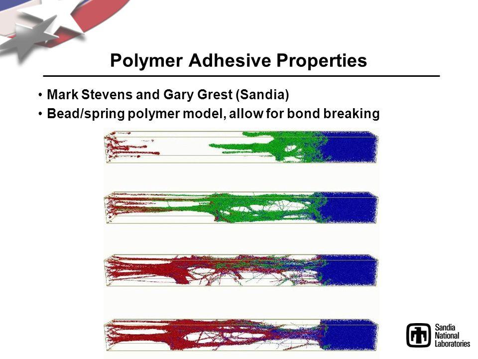 Polymer Adhesive Properties Mark Stevens and Gary Grest (Sandia) Bead/spring polymer model, allow for bond breaking