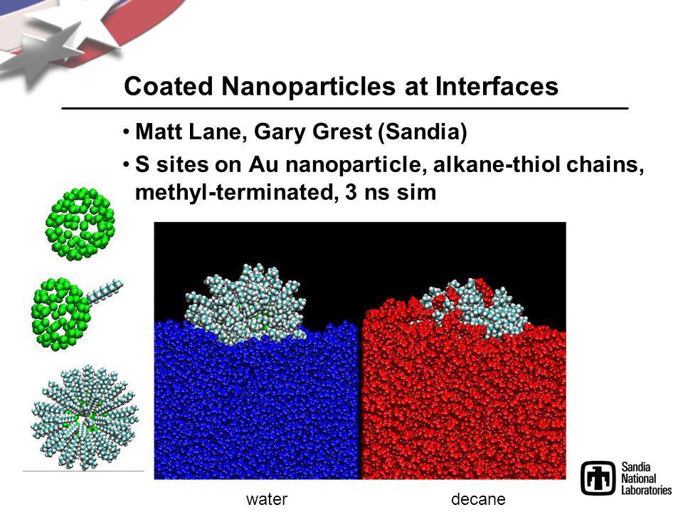 Coated Nanoparticles at Interfaces Matt Lane, Gary Grest (Sandia) S sites on Au nanoparticle, alkane-thiol chains, methyl-terminated, 3 ns sim waterdecane