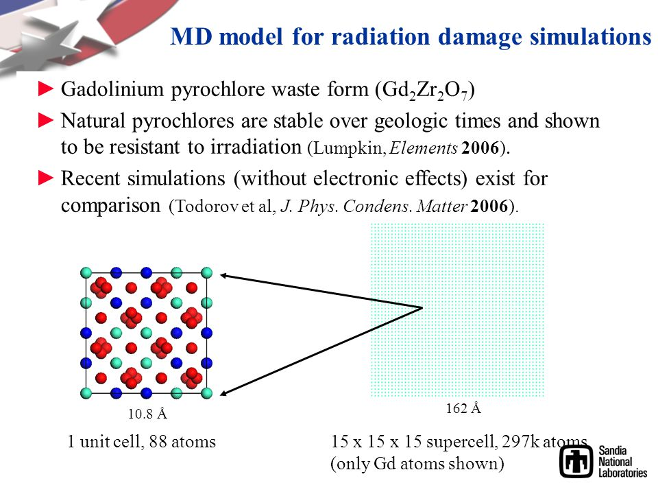 MD model for radiation damage simulations ►Gadolinium pyrochlore waste form (Gd 2 Zr 2 O 7 ) ►Natural pyrochlores are stable over geologic times and shown to be resistant to irradiation (Lumpkin, Elements 2006).