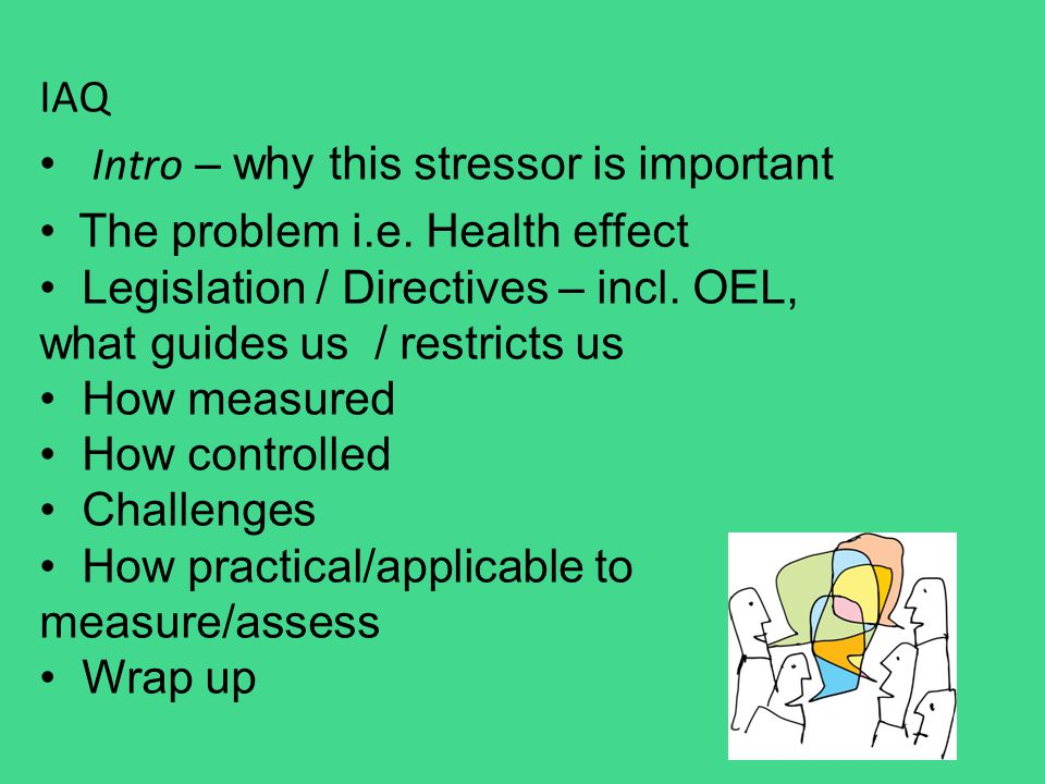 IAQ Intro – why this stressor is important The problem i.e. Health effect Legislation / Directives – incl. OEL, what guides us / restricts us How meas