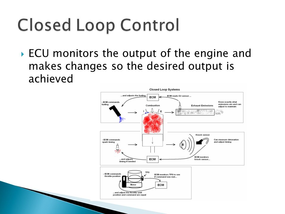  ECU monitors the output of the engine and makes changes so the desired output is achieved