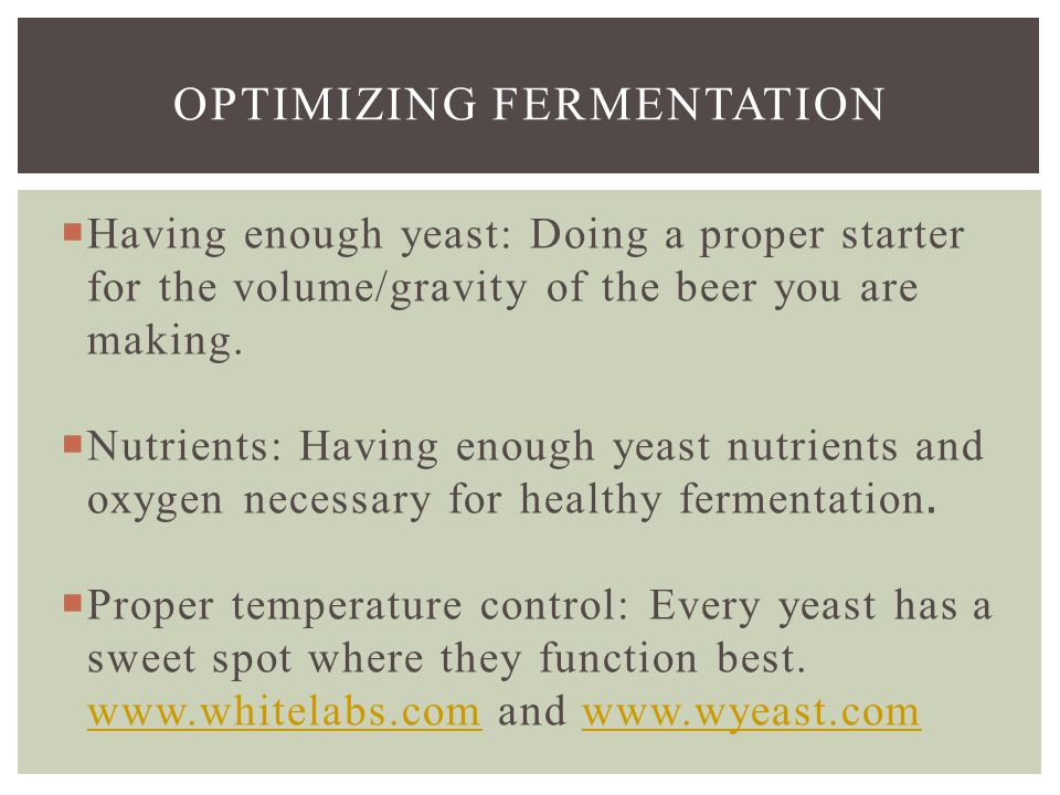  Having enough yeast: Doing a proper starter for the volume/gravity of the beer you are making.