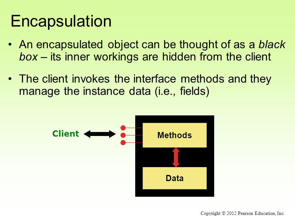 Encapsulation An encapsulated object can be thought of as a black box – its inner workings are hidden from the client The client invokes the interface