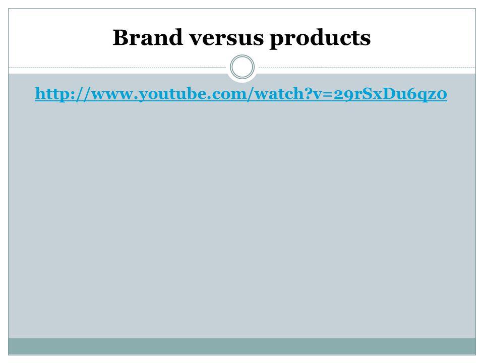 Brand versus products http://www.youtube.com/watch?v=29rSxDu6qz0