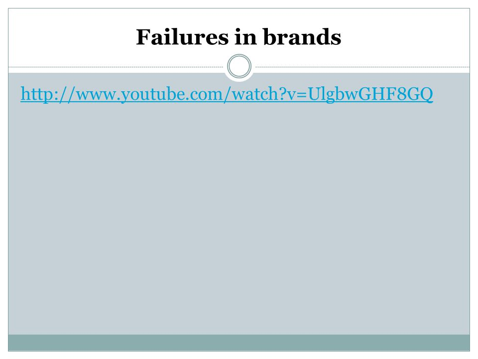 Failures in brands http://www.youtube.com/watch?v=UlgbwGHF8GQ