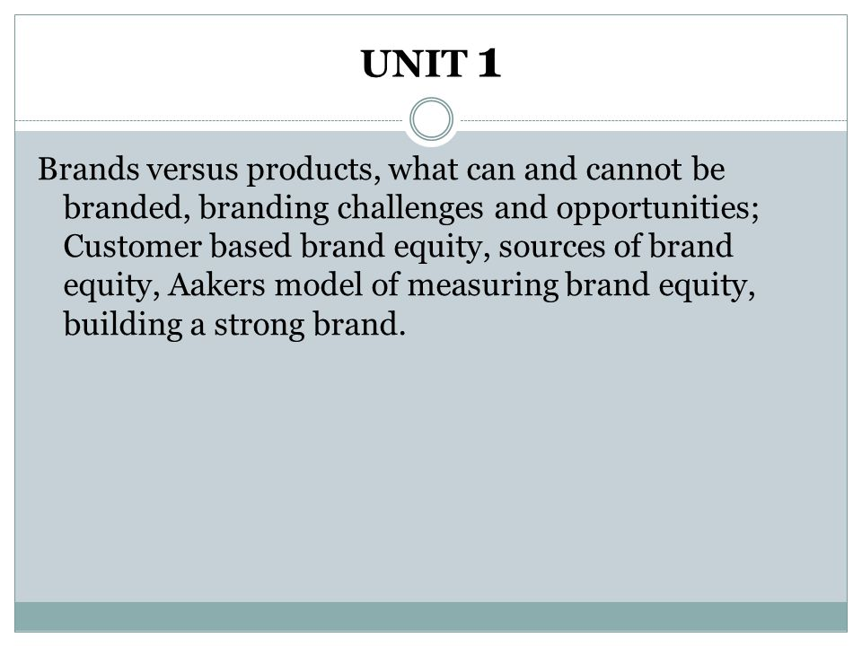 UNIT 1 Brands versus products, what can and cannot be branded, branding challenges and opportunities; Customer based brand equity, sources of brand eq