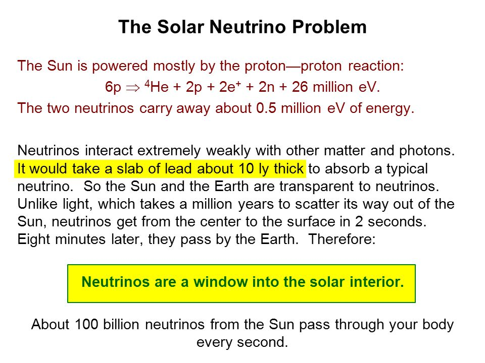 The Solar Neutrino Problem The Sun is powered mostly by the proton—proton reaction: 6p  4 He + 2p + 2e + + 2n + 26 million eV.