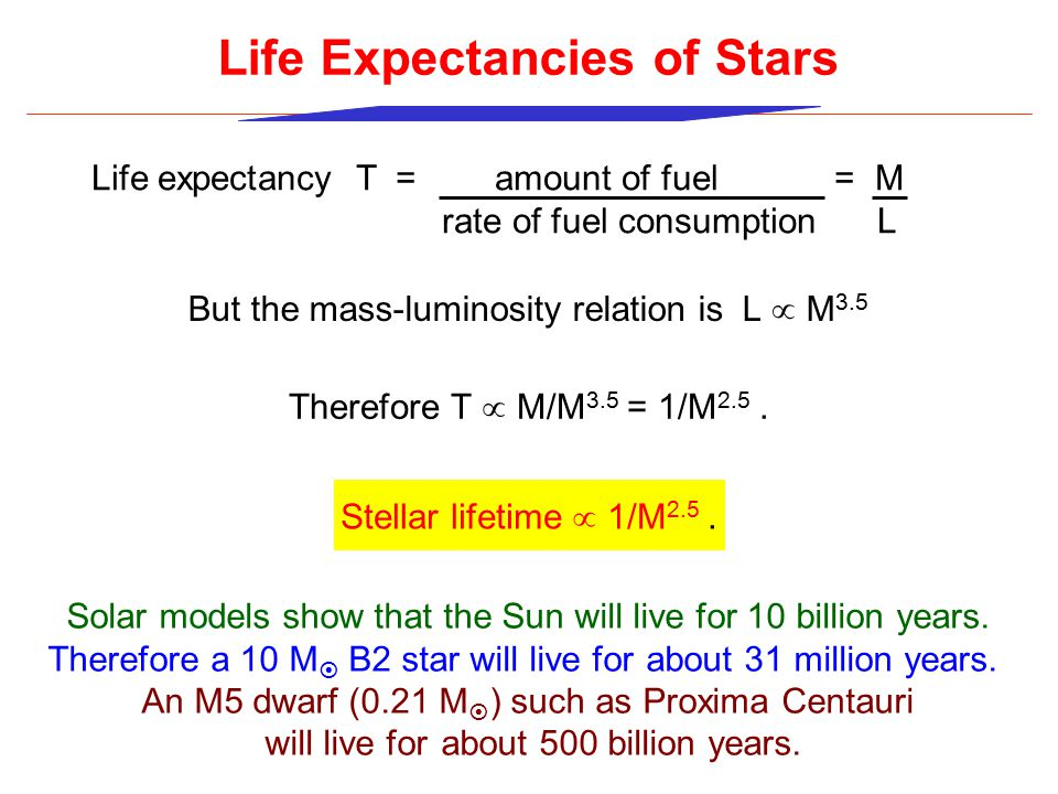 Life expectancy T = amount of fuel = M rate of fuel consumption L Life Expectancies of Stars But the mass-luminosity relation is L  M 3.5 Therefore T  M/M 3.5 = 1/M 2.5.
