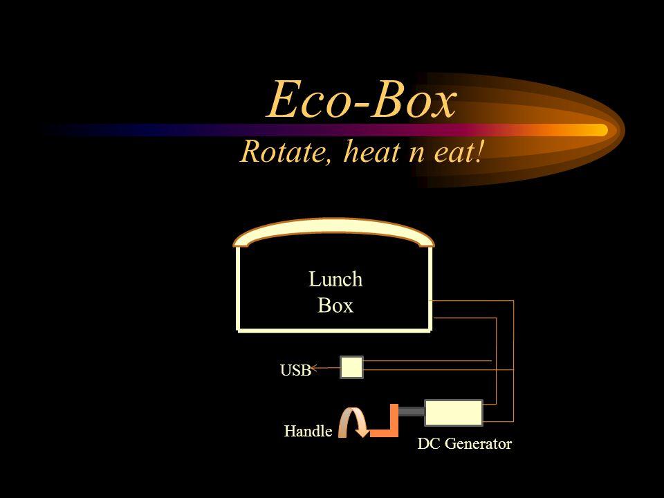 Eco-Box Rotate, heat n eat! Lunch Box USB Handle DC Generator