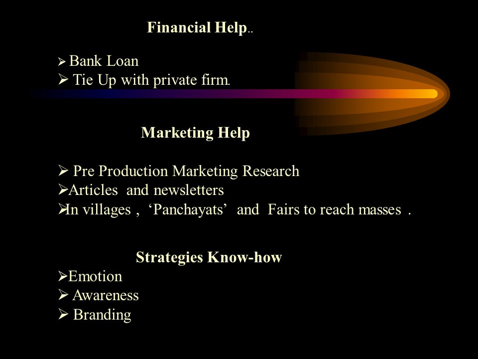 Financial Help..  Bank Loan  Tie Up with private firm. Marketing Help  Pre Production Marketing Research  Articles and newsletters  In villages,