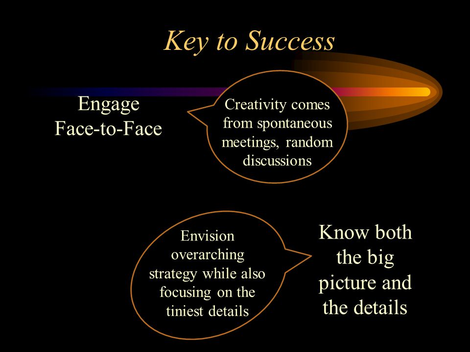 Key to Success Engage Face-to-Face Creativity comes from spontaneous meetings, random discussions Envision overarching strategy while also focusing on