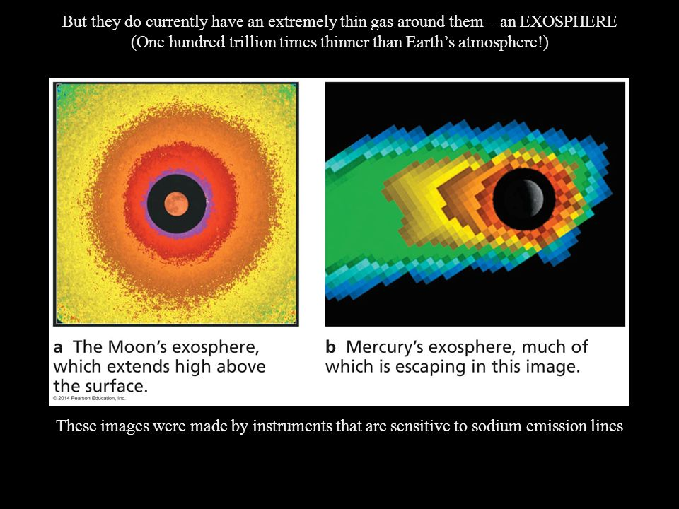 But they do currently have an extremely thin gas around them – an EXOSPHERE (One hundred trillion times thinner than Earth's atmosphere!) These images were made by instruments that are sensitive to sodium emission lines
