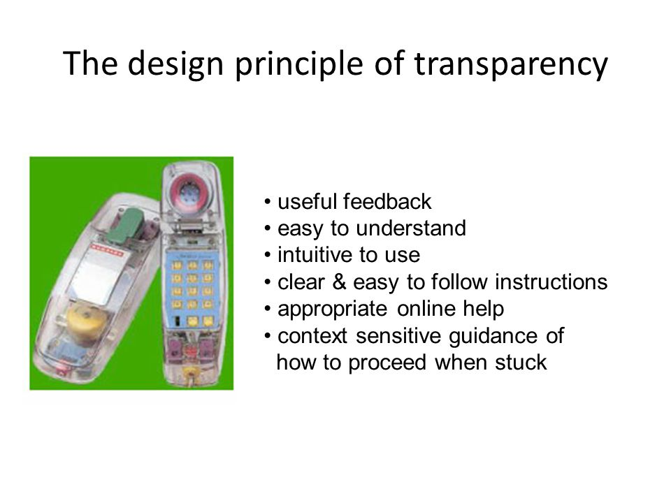 The design principle of transparency useful feedback easy to understand intuitive to use clear & easy to follow instructions appropriate online help context sensitive guidance of how to proceed when stuck