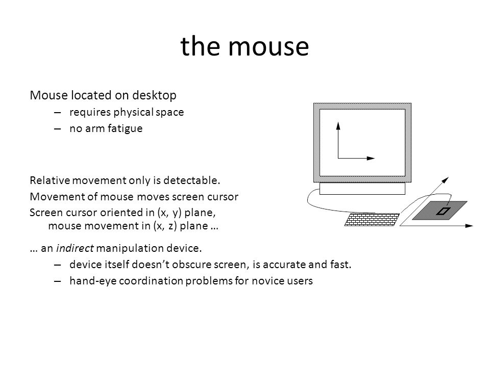 the mouse Mouse located on desktop – requires physical space – no arm fatigue Relative movement only is detectable. Movement of mouse moves screen cur