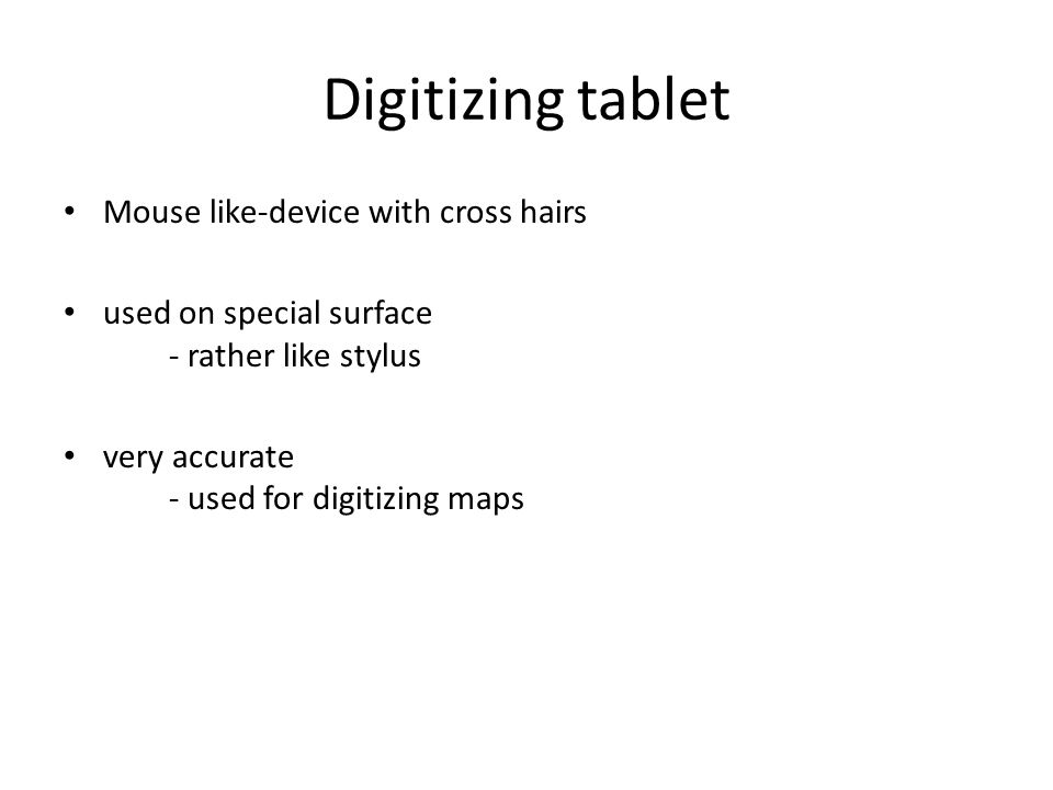 Digitizing tablet Mouse like-device with cross hairs used on special surface - rather like stylus very accurate - used for digitizing maps