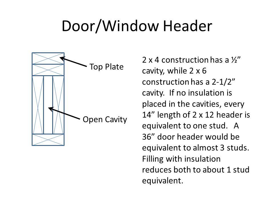 Door/Window Header Top Plate Open Cavity 2 x 4 construction has a ½ cavity, while 2 x 6 construction has a 2-1/2 cavity.
