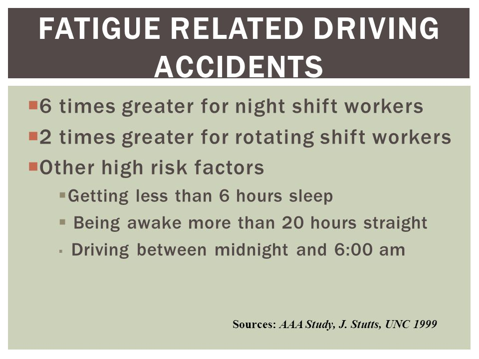  6 times greater for night shift workers  2 times greater for rotating shift workers  Other high risk factors  Getting less than 6 hours sleep  Being awake more than 20 hours straight  Driving between midnight and 6:00 am FATIGUE RELATED DRIVING ACCIDENTS Sources: AAA Study, J.