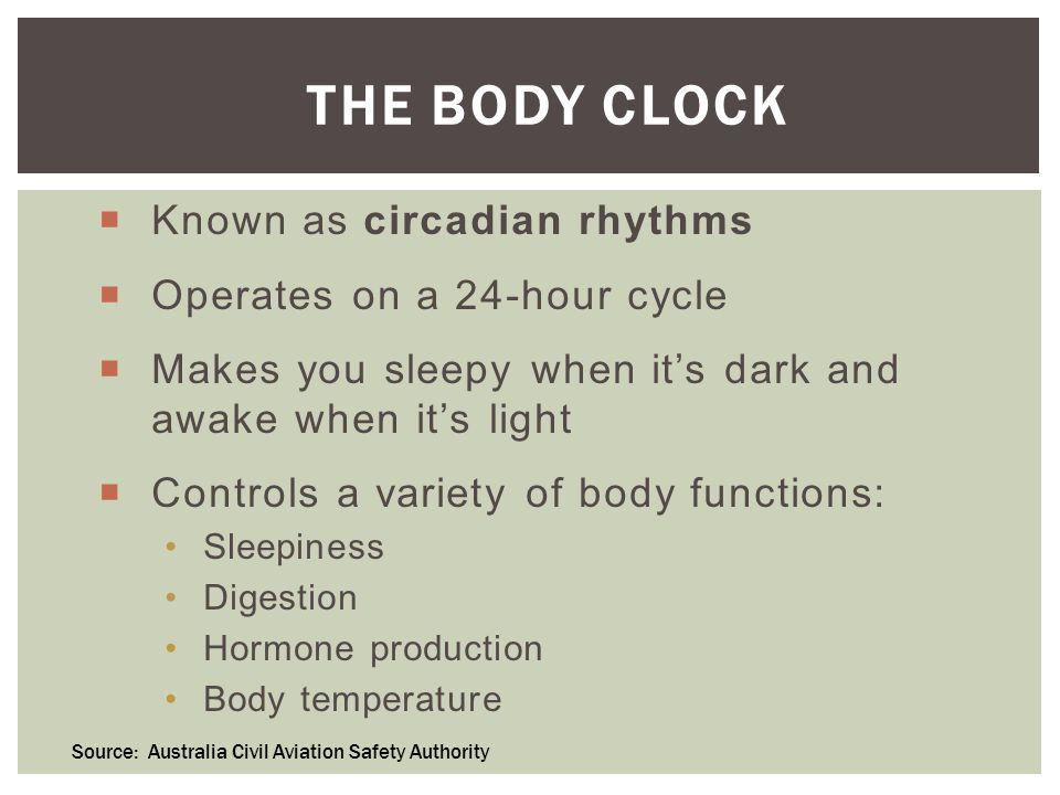 THE BODY CLOCK  Known as circadian rhythms  Operates on a 24-hour cycle  Makes you sleepy when it's dark and awake when it's light  Controls a variety of body functions: Sleepiness Digestion Hormone production Body temperature Source: Australia Civil Aviation Safety Authority