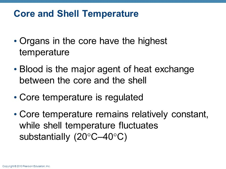 Copyright © 2010 Pearson Education, Inc. Core and Shell Temperature Organs in the core have the highest temperature Blood is the major agent of heat e