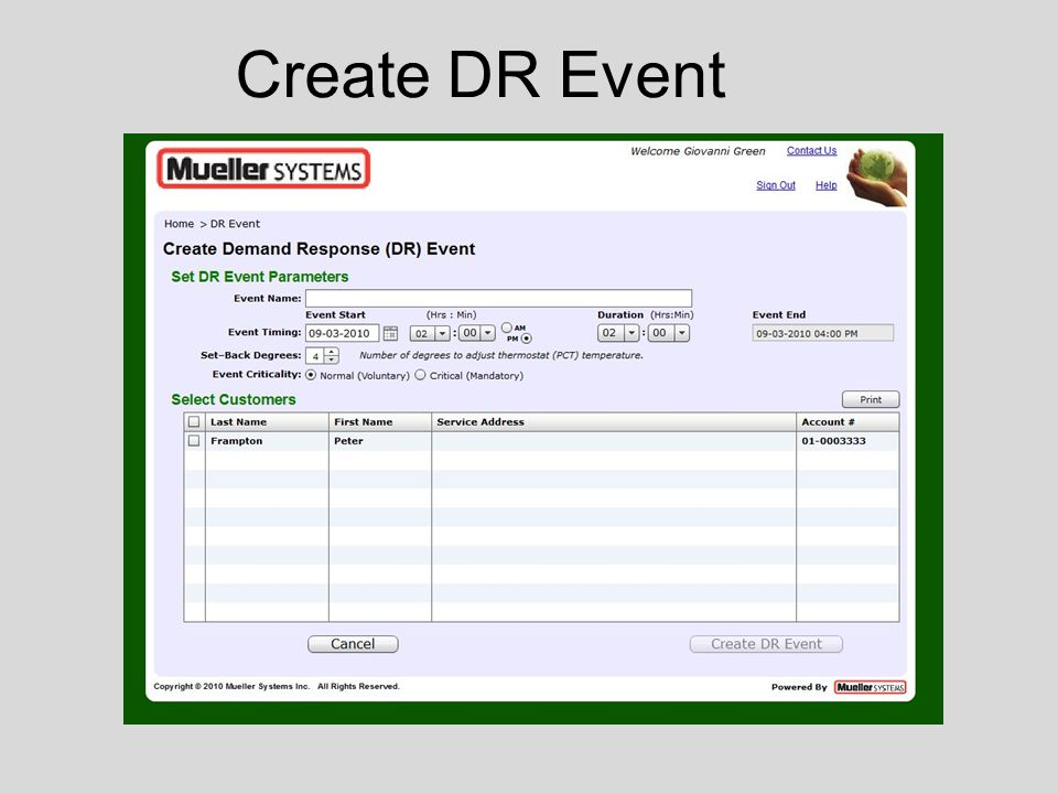 Create DR Event
