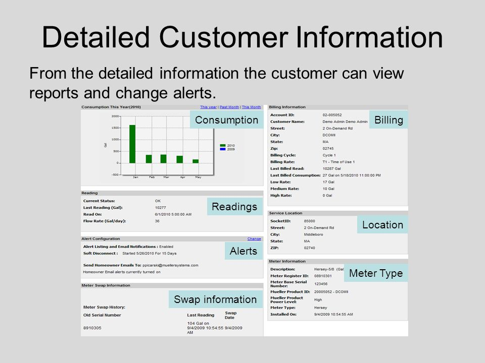 From the detailed information the customer can view reports and change alerts.