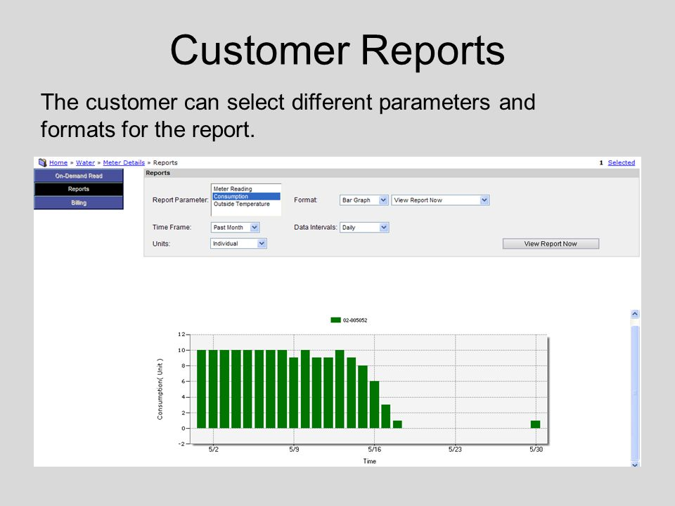 Customer Reports The customer can select different parameters and formats for the report.