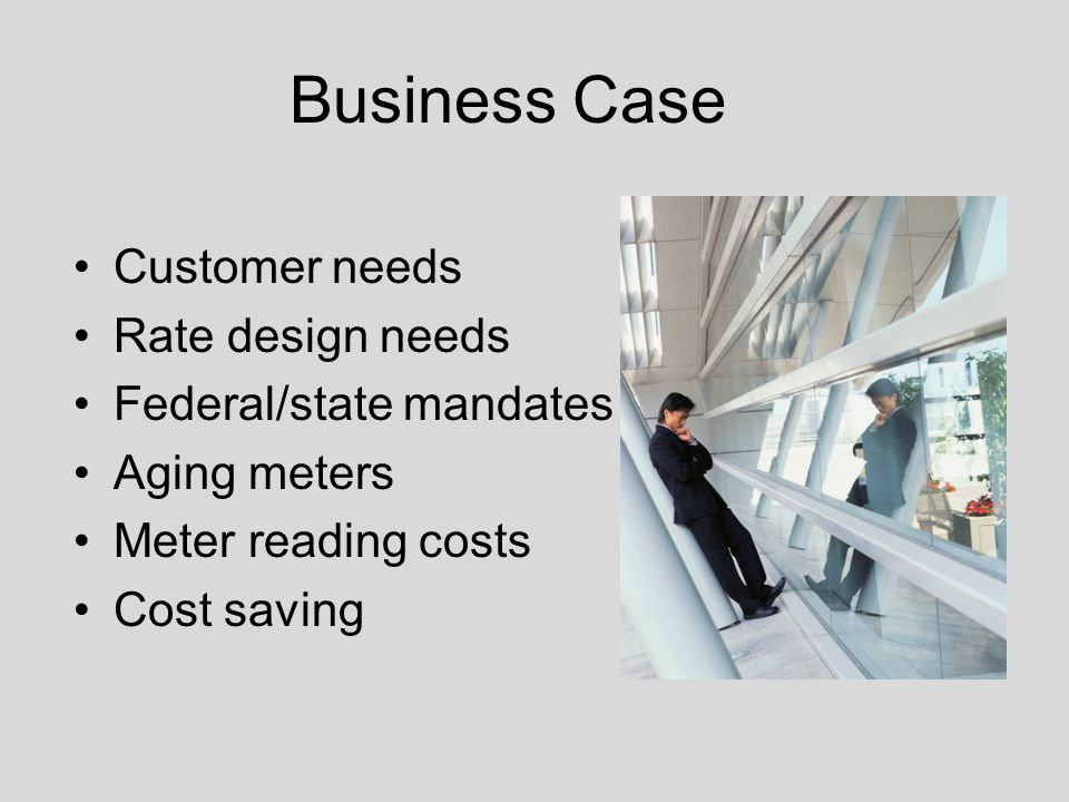 Business Case Customer needs Rate design needs Federal/state mandates Aging meters Meter reading costs Cost saving