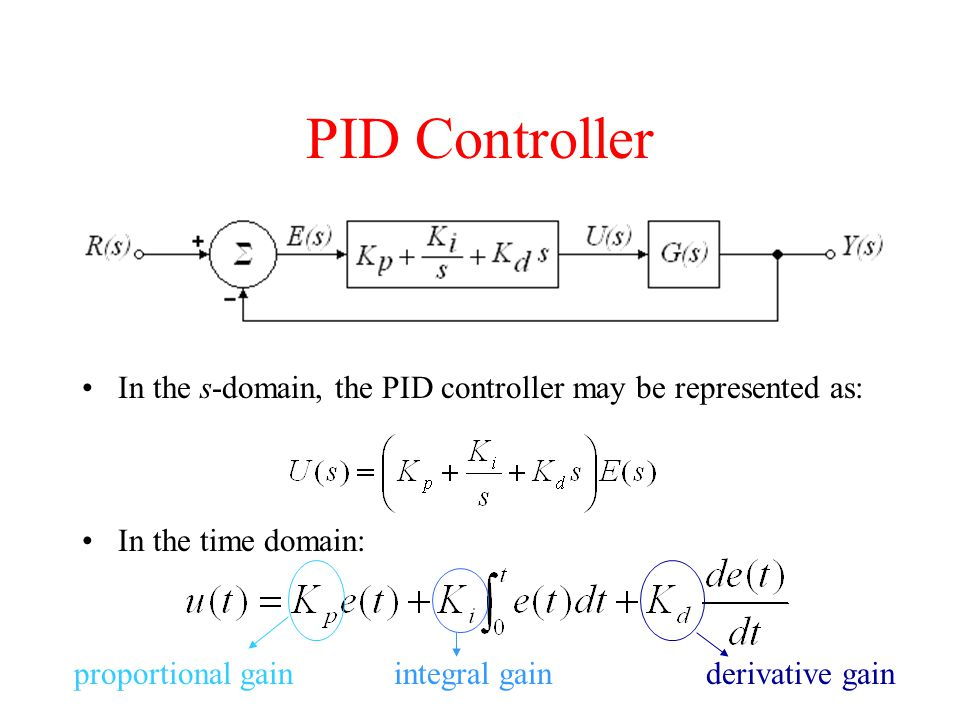 PID Controller In the s-domain, the PID controller may be represented as: In the time domain: proportional gainintegral gainderivative gain
