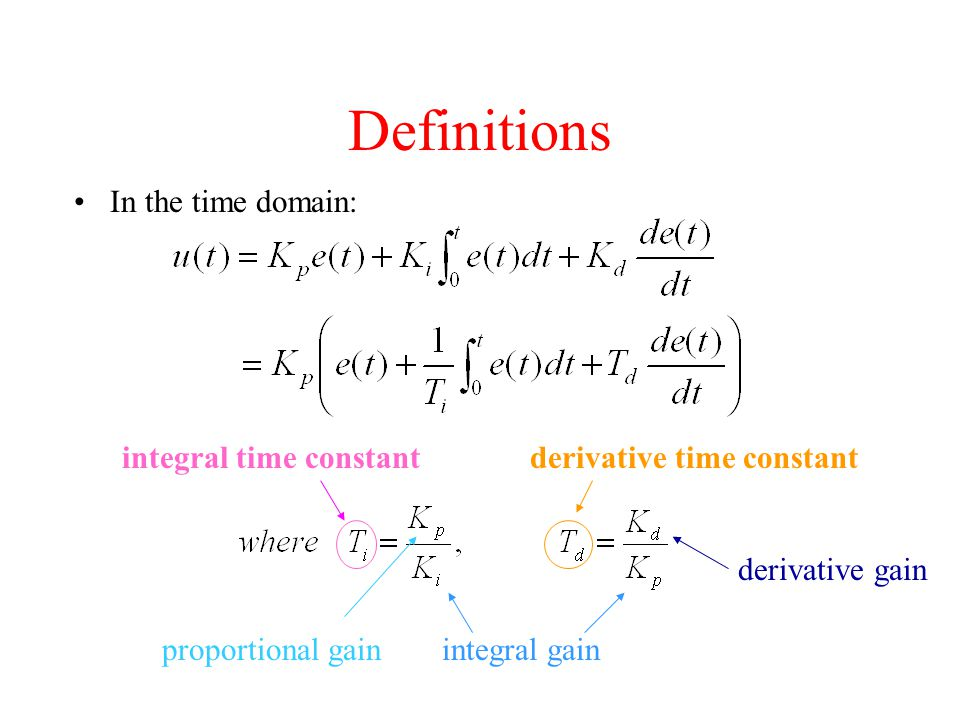 Definitions In the time domain: proportional gainintegral gain derivative gain derivative time constantintegral time constant