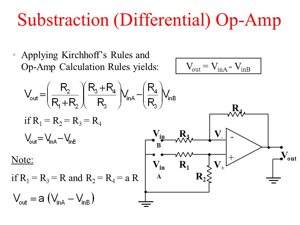 Substraction (Differential) Op-Amp V out = V inA - V inB Applying Kirchhoff's Rules and Op-Amp Calculation Rules yields: V in B V out + - R4R4 V-V- V+V+ V in A R1R1 R2R2 R3R3 if R 1 = R 2 = R 3 = R 4 Note: if R 1 = R 3 = R and R 2 = R 4 = a R