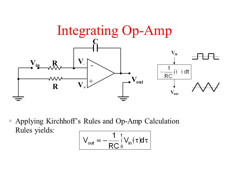Integrating Op-Amp V in V out + - R V-V- V+V+ R C V in V out  Applying Kirchhoff's Rules and Op-Amp Calculation Rules yields: