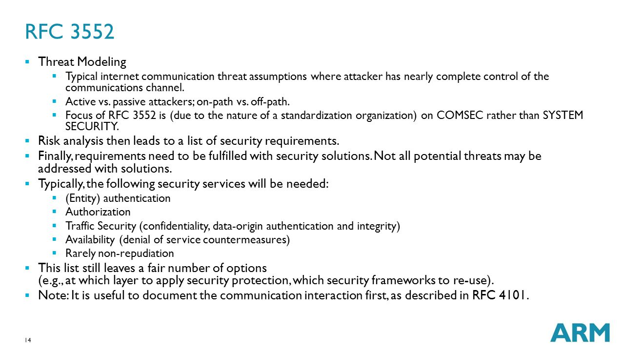 14 RFC 3552  Threat Modeling  Typical internet communication threat assumptions where attacker has nearly complete control of the communications cha