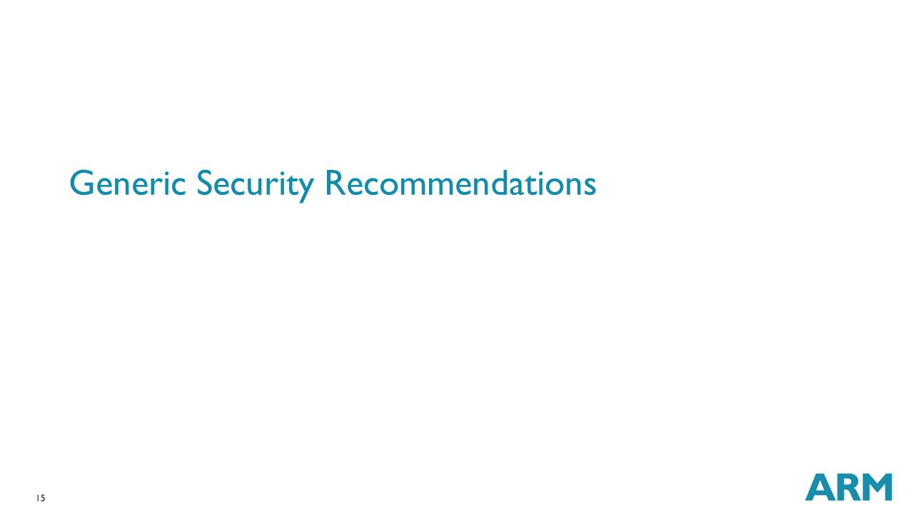 15 Generic Security Recommendations