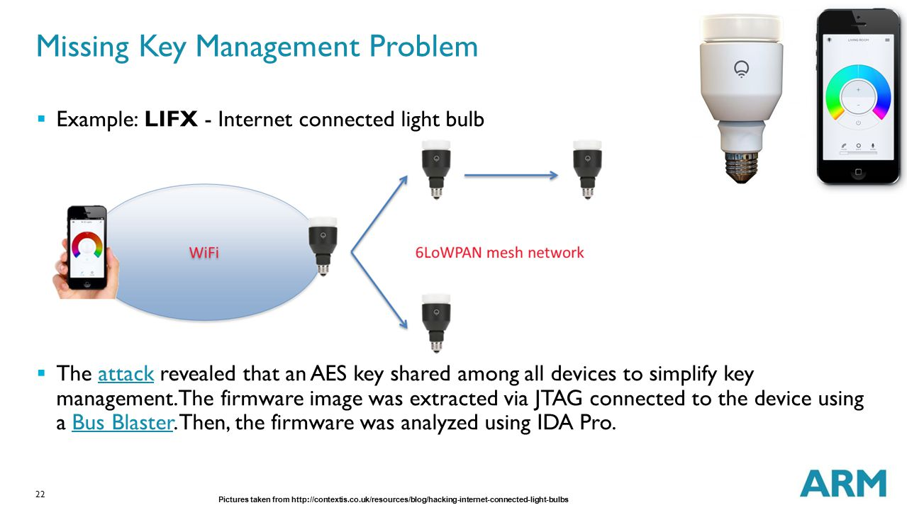 22 Missing Key Management Problem  Example: LIFX - Internet connected light bulb  The attack revealed that an AES key shared among all devices to si