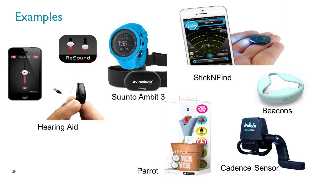 29 Beacons Cadence Sensor Parrot Hearing Aid Examples StickNFind Suunto Ambit 3