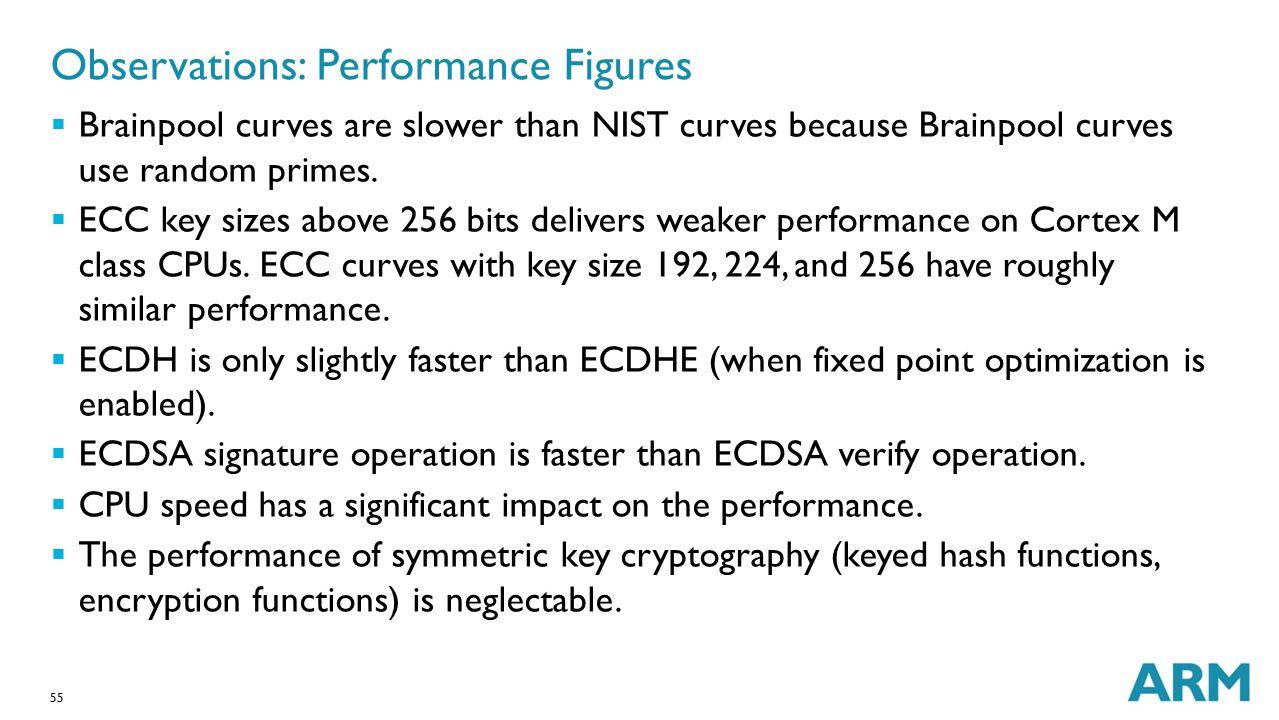 55 Observations: Performance Figures  Brainpool curves are slower than NIST curves because Brainpool curves use random primes.  ECC key sizes above