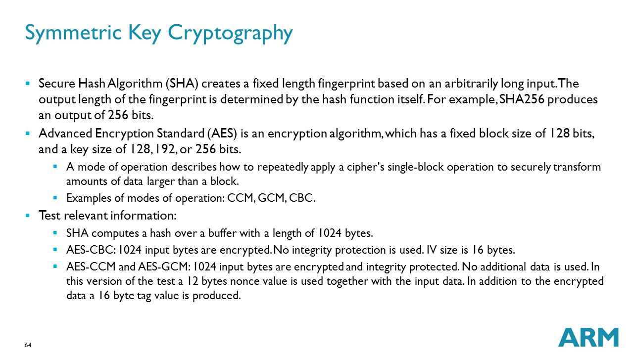 64 Symmetric Key Cryptography  Secure Hash Algorithm (SHA) creates a fixed length fingerprint based on an arbitrarily long input. The output length o