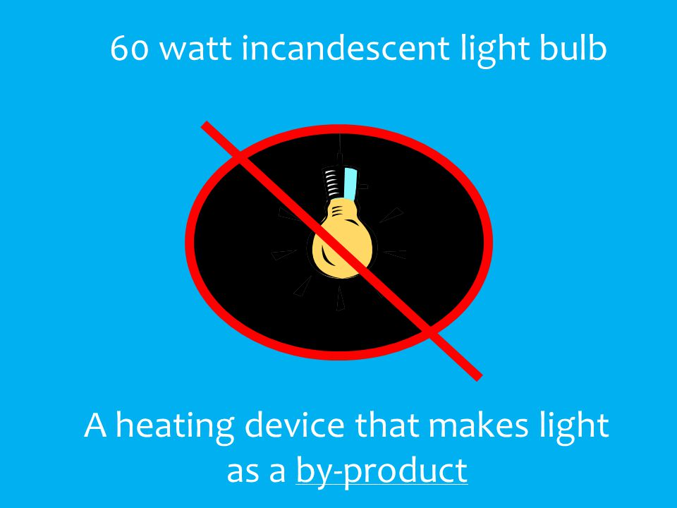 A heating device that makes light as a by-product 60 watt incandescent light bulb