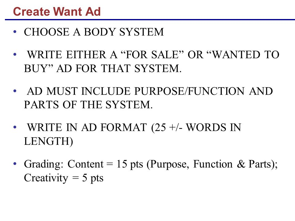 Create Want Ad CHOOSE A BODY SYSTEM WRITE EITHER A FOR SALE OR WANTED TO BUY AD FOR THAT SYSTEM.