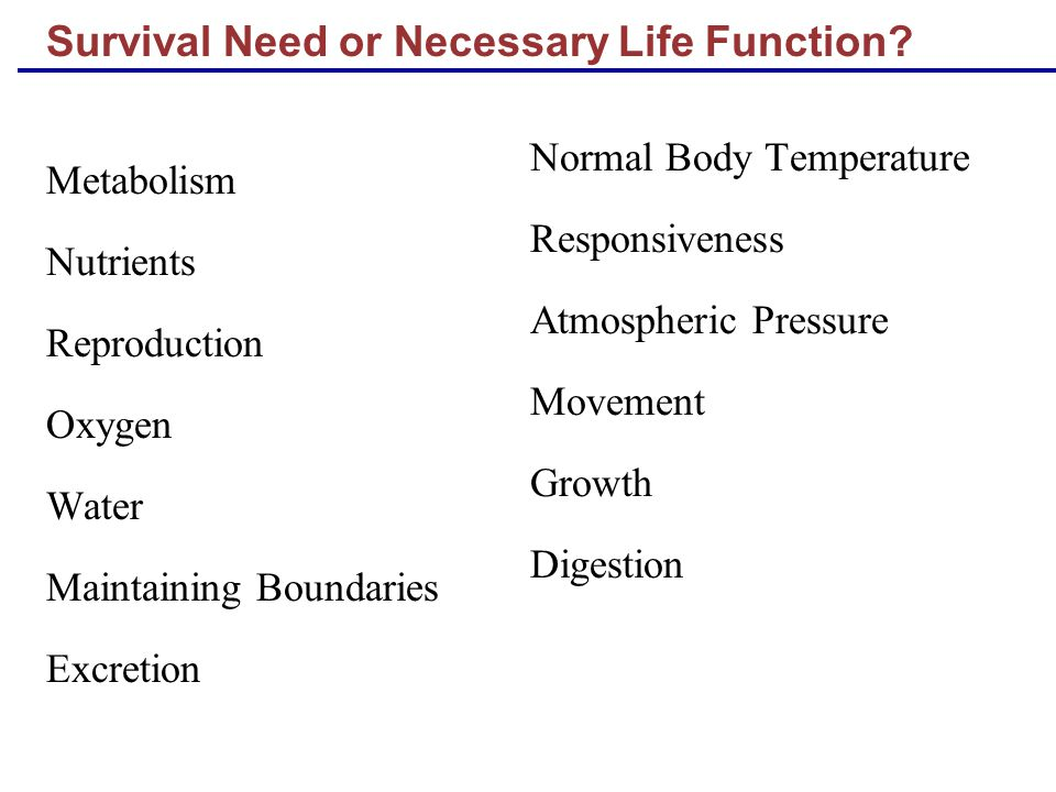 Survival Need or Necessary Life Function? Metabolism Nutrients Reproduction Oxygen Water Maintaining Boundaries Excretion Normal Body Temperature Resp
