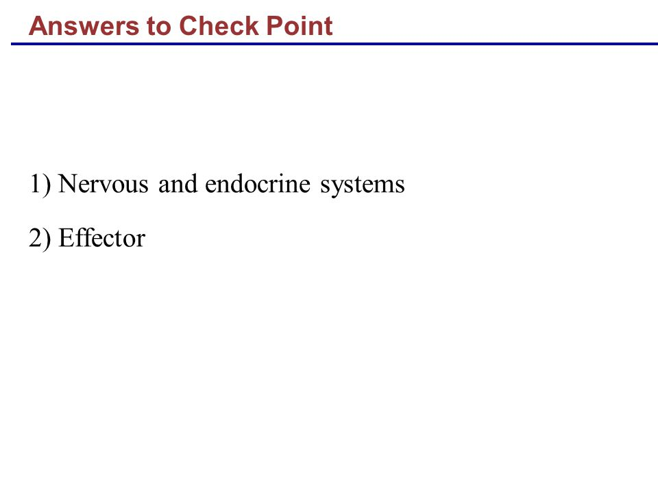 Answers to Check Point 1) Nervous and endocrine systems 2) Effector