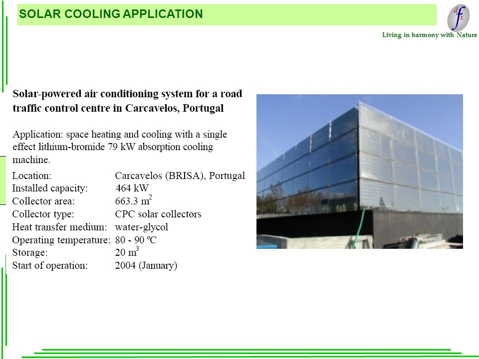 Living in harmony with Nature SOLAR COOLING APPLICATION