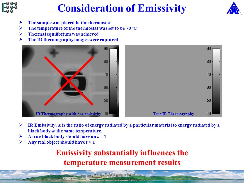  The sample was placed in the thermostat  The temperature of the thermostat was set to be 70 ºC  Thermal equilibrium was achieved  The IR thermography images were captured  IR Emissivity, , is the ratio of energy radiated by a particular material to energy radiated by a black body at the same temperature.